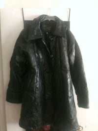 Like new Black mosaic print genuine leather jacket