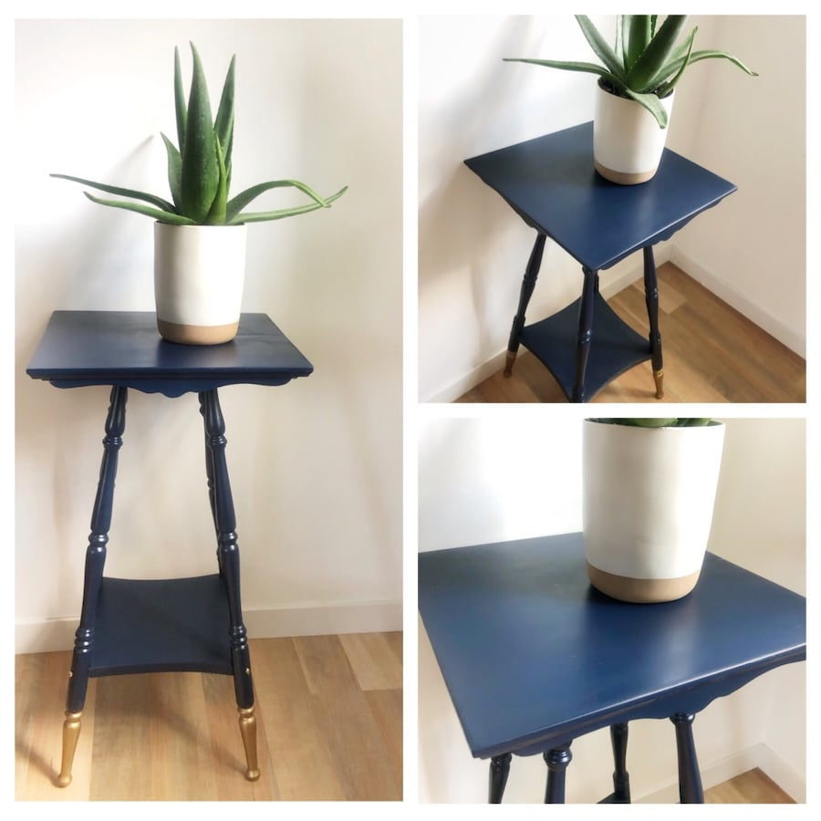 Refurbished side table/plant stand,end table,vintage,navy blue &gold