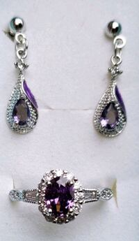 White gold plated amethyst ring and earrings Baltimore, 21224