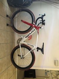 White and red Cervelo road bike