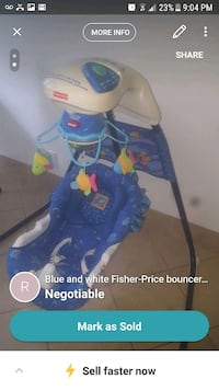 blue and white Fisher-Price cradle n swing screenshot Montreal, H3W 1B2