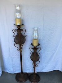 Set of 2 copper coloured candle holders