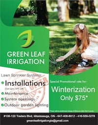 Irrigation system repair Mississauga, L5B
