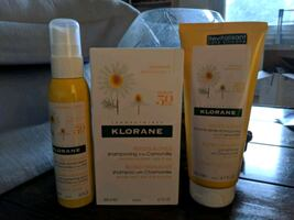 Klorane blonde shampoo conditioner and spray.