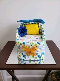Diaper Cake Bassinet for Boy, made and ready to sell!