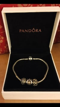 Authentic PANDORA Classic Barrel Clasp Bracelet with 3 Charms 14k Gold and Diamond Size:7.5""
