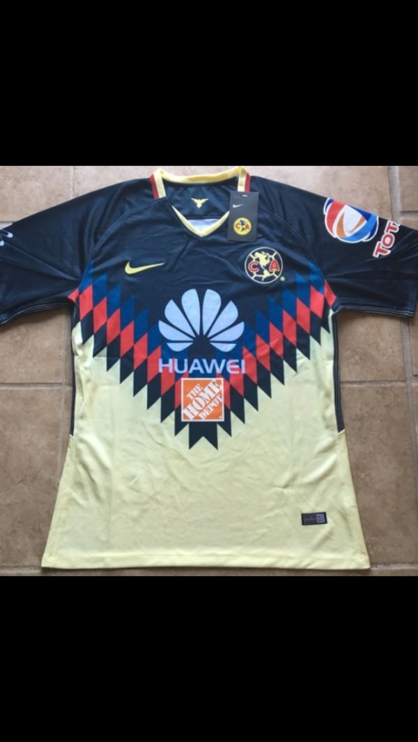 new arrival 04f26 818c0 NIKE AUTHENTIC 2017-2018 HOME CLUB AMERICA SOCCER JERSEY