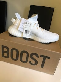 pair of white Adidas Yeezy Boost 350 on box Cypress, 90630