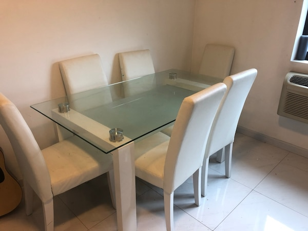Remarkable Used Glass Dining Table With White Leather Chairs For Sale Download Free Architecture Designs Scobabritishbridgeorg