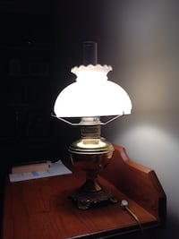 Antique brass electrified oil lamp Center Harbor, 03226