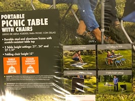 Portable picnic table with chairs