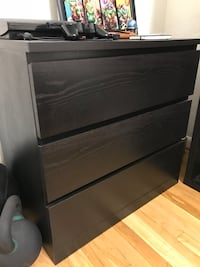 black wooden 3-tier drawers