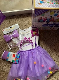 Tutu set and light up headband,leggings, and a box of party supplies