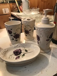 White-and-blue floral ceramic bathroom set Edmonton, T5E 4G5