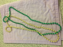 Green and yellow beaded necklaces