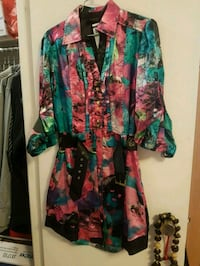 women's multicolored floral long-sleeved dress 552 km