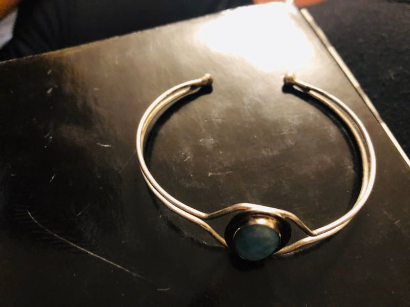 Sterling silver bangle with larimar d0a2baa3-9c24-47e2-8ec7-4d3200d718f1