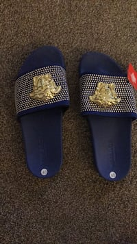 Pair of blue-and-gold Versace slides  Conway, 29526
