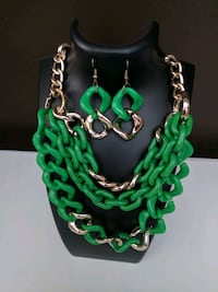 green gold necklace and earrings. Aldie, 20105