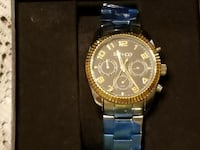 round gold chronograph watch with link bracelet Spring Grove, 17362