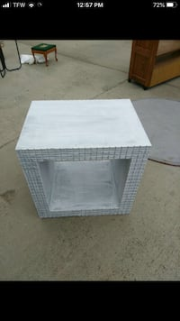 White cube end table