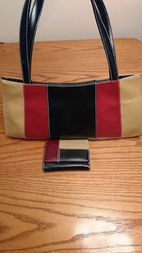black, red, and beige striped leather shoulder bag and wallet