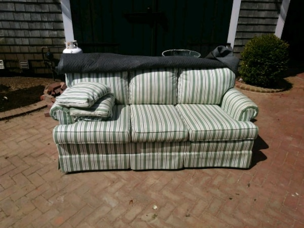 white and gray striped 3-seat sofa