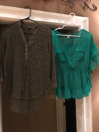 two brown lace and green chiffon blouses