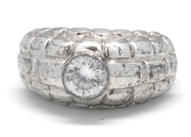 Mens Silver Nugget Style Ring