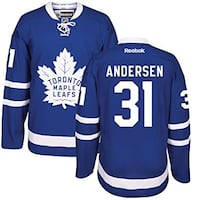 blue and white Toronto Maple Leafs Andersen 31 jersey shirt