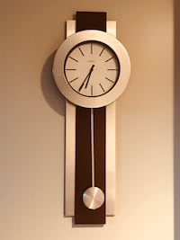 Wall clock wood & glass Sliver&Brown 3ft long