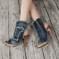 BOOPDO DESIGN WASHED DENIM OPEN TOE HIGH HEEL SANDALS