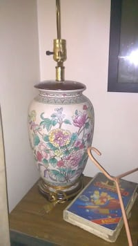 white and pink floral ceramic table lamp base