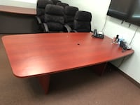 Rectangular brown wooden conference room table and chairs Las Vegas, 89148