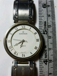 round silver analog watch with silver link Toronto, M4C 1M7