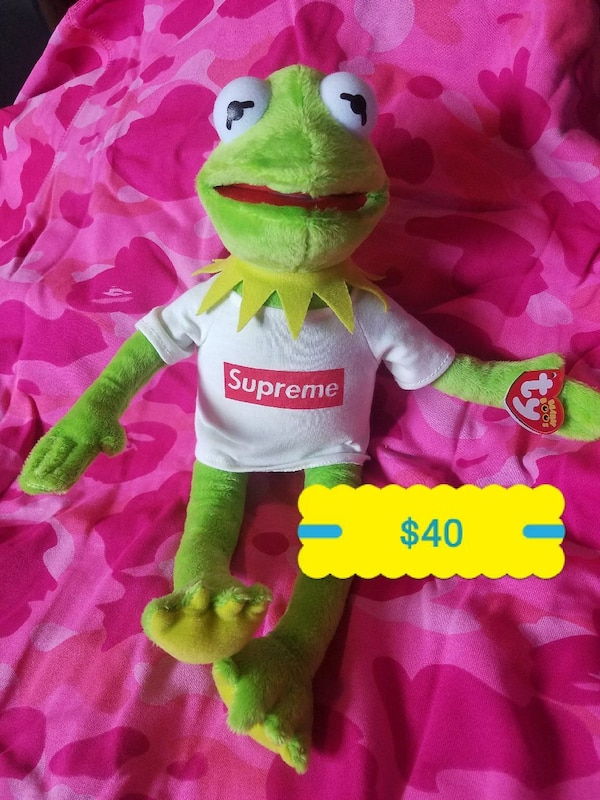 Used Kermit The Frog in Supreme t-shirt TY Beanie Baby for sale in ... cdcf0ba3359