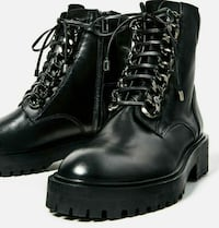 Sorte skinn boots ankleboots boots