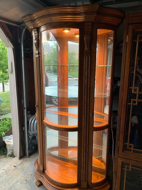 Astonishing Illuminated Curved Glass Curio Display Cabinet 4 Contoured Thick Glass Shelves Home Interior And Landscaping Ferensignezvosmurscom