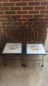 Two white-brown-blue custom tile Cast Iron chairs VINTAGE furniture Long Branch, 07740