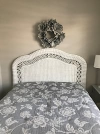 White Wicker headboard  Double/Queen. Does not include bed.