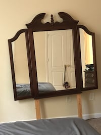 Dresser with mirror and night stand. Night stand has wear and tear on the top but can be sanded down into a beautiful piece Conyers, 30012