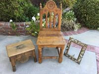 One Spanish carved oak chair,  oak carved stool, Spanish metal picture frame Los Angeles, 91356