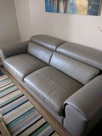 gray leather 3-seat sofa Hamilton