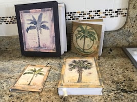Palm tree themed books and photo album