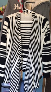 black and white stripe open cardigan