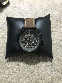 round silver chronograph watch with brown leather strap San Jose, 95123