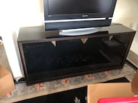 Black Glass w/Wood Zebra Accents Credenza TV Stand  Rockville, 20850