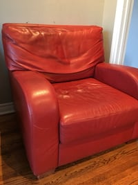Red leather sofa chair with ottoman Toronto, M3B 2Z3
