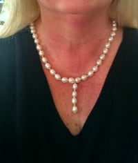 Baroque pearl necklace, 14k gold clasp and beads.  Asheville