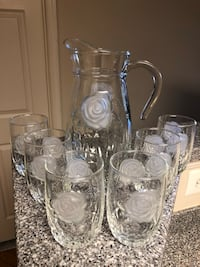 Cut Glass Rose Pitcher with Matching Glasses 37 km